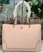 NWT TORY BURCH CARTER Chain Shoulder Tote Bag In SHELL PINK Pebbled Leather GOLD
