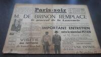 JOURNAUX PARIS-SOIR  N°181 JEUDI  19 DECEMBRE 1940 ABE