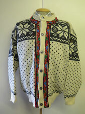 Traditional Vintage Norwegian Nordic Patterned Cardigan Size XL UK 18/20