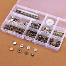50x bouton pression métal argenté bronzé 10mm avec outil pour cuir maroquinerie