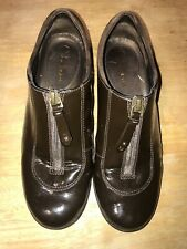 Cole Haan Women Brown Waterproof Shoe 7B Zipper Leather Patent Leather Air
