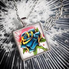Blue Rose Tattoo Flash Glass Rockabilly Punk Flower Handmade Silver Necklace USA