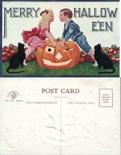 ANTIQUE UNUSED HALLOWEEN POSTCARD - KIDS w/ JACK-O-LANTERN