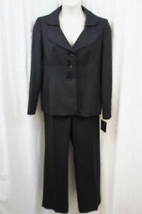 Suit Studio Pant Suit Sz 14 Black Blue Pin Striped Americana Business Evening