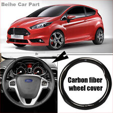 For Ford Fiesta Carbon Fiber Leather Steering Wheel Cover Sport Racing case