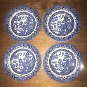 4 Churchill Blue Willow Side Plate Made In England 17cm (VGUC)