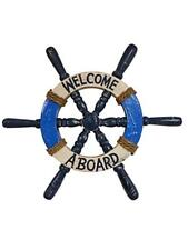 "BEAUTIFUL HANDCARVED & PAINTED WOOD ""WELCOME ABOARD"" SHIPS WHEEL NAUTICAL DECOR!"