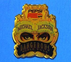 MICHAEL JACKSON - PEPSI COLA - DANGEROUS WORLD TOUR - VINTAGE LAPEL PIN