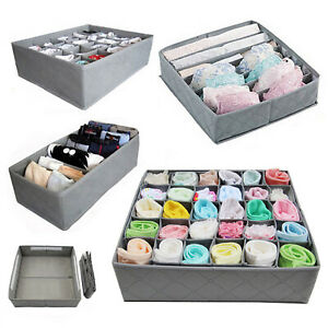 3 Pack Drawer Organiser Neat Tidy Storage Box Wardrobe Divide Organizer Socks UK