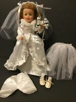 "White Satin & Lace Bride Doll Wedding Dress Lot-for 12""-St12 Shirley Temple(SW7)"