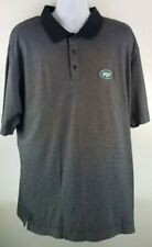 New York Jets Cutter & Buck Golf Polo Shirt Grey Black Striped Mens 2XL XXL NFL