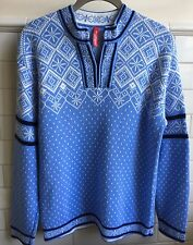 Hanna Andersson Womens Sz Small Blue Nordic Fair Isle Snowflakes Cotton Sweater