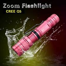 Pink Flashlight LED Aluminum Q5 Torch lights Zoomable Waterproof Penlight 2000ML
