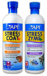 API STRESS COAT & STRESS ZYME DECLORINATOR AND AQUARIUM CLEANER BUNDLE ALL SIZES