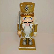 """Holiday Home Gold Silver Glittered Wooden Nutcracker Christmas New 10"""""""