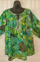 Anthropologie Fig and Flower Sheer Green Teal Floral Blouse Shirt Boho  Size L