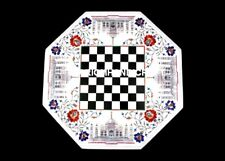 """12"""" Taj Mahal With Floral Chess Marble Table Top Inlay Playing Hallway Game M186"""