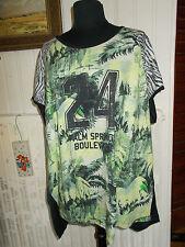 Tee shirt manche courte noir imprimé PALM SPRINGS vert VIA APPIA DUE 54D 56FR