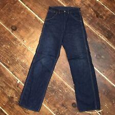 Vintage 50s Carpenter Jeans 28x32 Dark Denim Farm Work Dungarees Waldes Zip