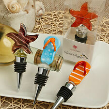 24 - Flip Flop And Star Fish Murano Glass Bottle Stoppers - Beach Themed Favors
