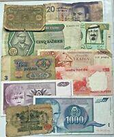 Lote de 10 billetes diferentes años desde 1914 - usados y nuevos