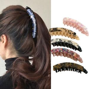 Acetate Banana Hair Clip For Women Vintage Marble Hair Clips Crab Hairpins