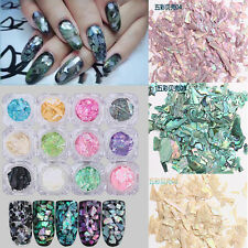 12 Colors 3D Decoration Real Seashell Sequins for UV Gel Acrylic Nail Art Tips