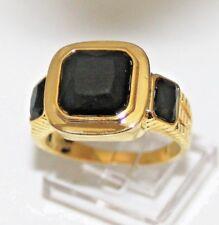 Saphir Onyx schwarz Damen Herren Ring Gold 18K GP gest (750) Gr 63 Ø20,0 mm