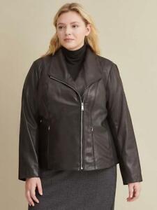 Calvin Klein Plus Size Knit Detail Women's Leather Jacket Black NWT $600