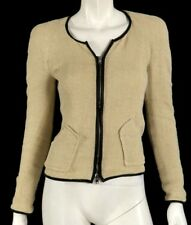 ISABEL MARANT Beige Linen Tweed Black Leather Trim Zip Front Jacket 0 XS