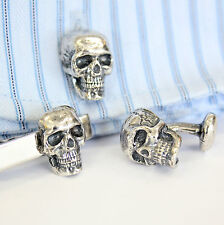 Matching Silver Human Skull Cuff Links and Tie Bar Set Clasp Clip 492 129