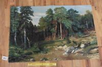 """Vintage Wall Tapestry Pine Forest Creek Woods Custom Antique Handmade 41""""x26"""""""
