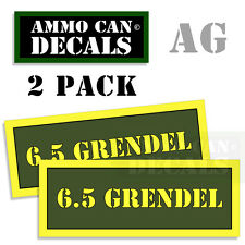 6.5 GRENDEL Ammo Can Box Decal Sticker bullet ARMY Gun safety Hunting 2 pack AG