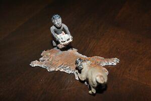Franz Bergman Vienna Bronze Cold Painted Man Fighting a Dog on a Lion Skin Rug