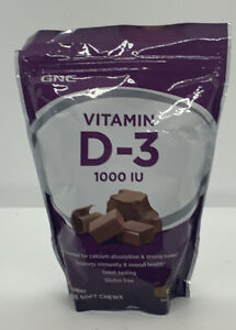 GNC VITAMIN SOFT CHEWS D-3 1000 IU - CHOCOLATE 60 Soft Chews BBD: 6/2021