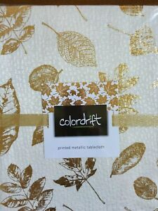 Colordrift Holiday Table Cloth Ivory 60x84 Gold Metallic Leaves Poly/Cotton
