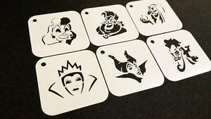 DISNEY Style PRINCESS VILLAINS Set of 6pcs Stencil Airbrushing Party Decoration