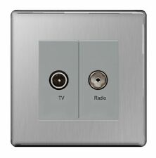Brushed TV/Coaxial Socket Home Electrical Fittings
