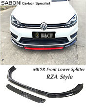 2013 14 15 VW GOLF MK7R Front Lower Lip RZA style // Carbon fiber CF /2pcs/set