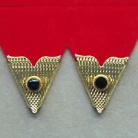 Collar Tips Gold Metal Black Stone 4prs Made in USA Western Square Dance Cowboy