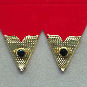 Collar Tips Gold Metal Black Stone 1 pr Made in USA Western Square Dance Cowboy