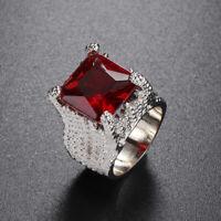 crystal frauen mode hochzeit riesige rubinring versilbert engagement schmuck