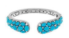 Judith Ripka Sterling Sleeping Beauty Turquoise & Diamonique Cuff size S Hinged
