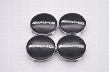 4 PC SET Mercedes Benz Wheel Center Caps Emblem BLACK AMG Logo Hubcaps 75MM