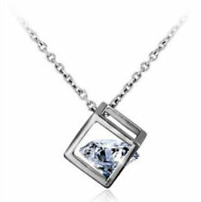 "1.2CT Diamond Heart Sterling Silver necklace 18"" S925 Chain Love Heart Gift-NL20"