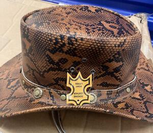 Genuine Leather Western Australian Cowboy Bush Hat Size s,M