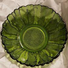 "Vintage green clear cut glass fruit bowl w/ uneven edging  (10"" X 4"")"