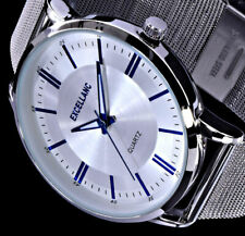 Excellanc Herren Uhr Silber Blau Edelstahl Mesh Armband