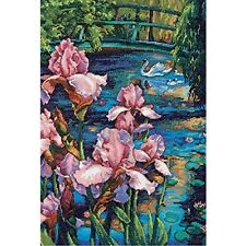 Dimensions Needlecrafts Counted Cross Stitch, Iris And Swan Flowers Animals