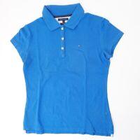 Tommy Hilfiger Slim Fit Poloshirt Damen Gr.S blau uni Knopf Piquè -S1329